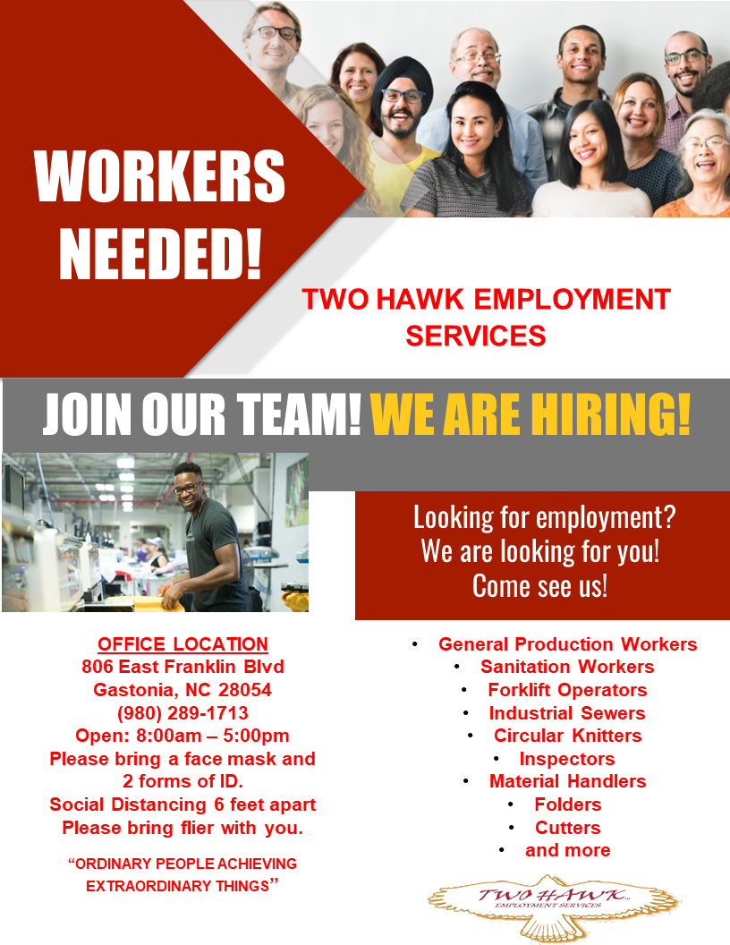 Two Hawk Employment Services is hiring. Phone 980-289-1713