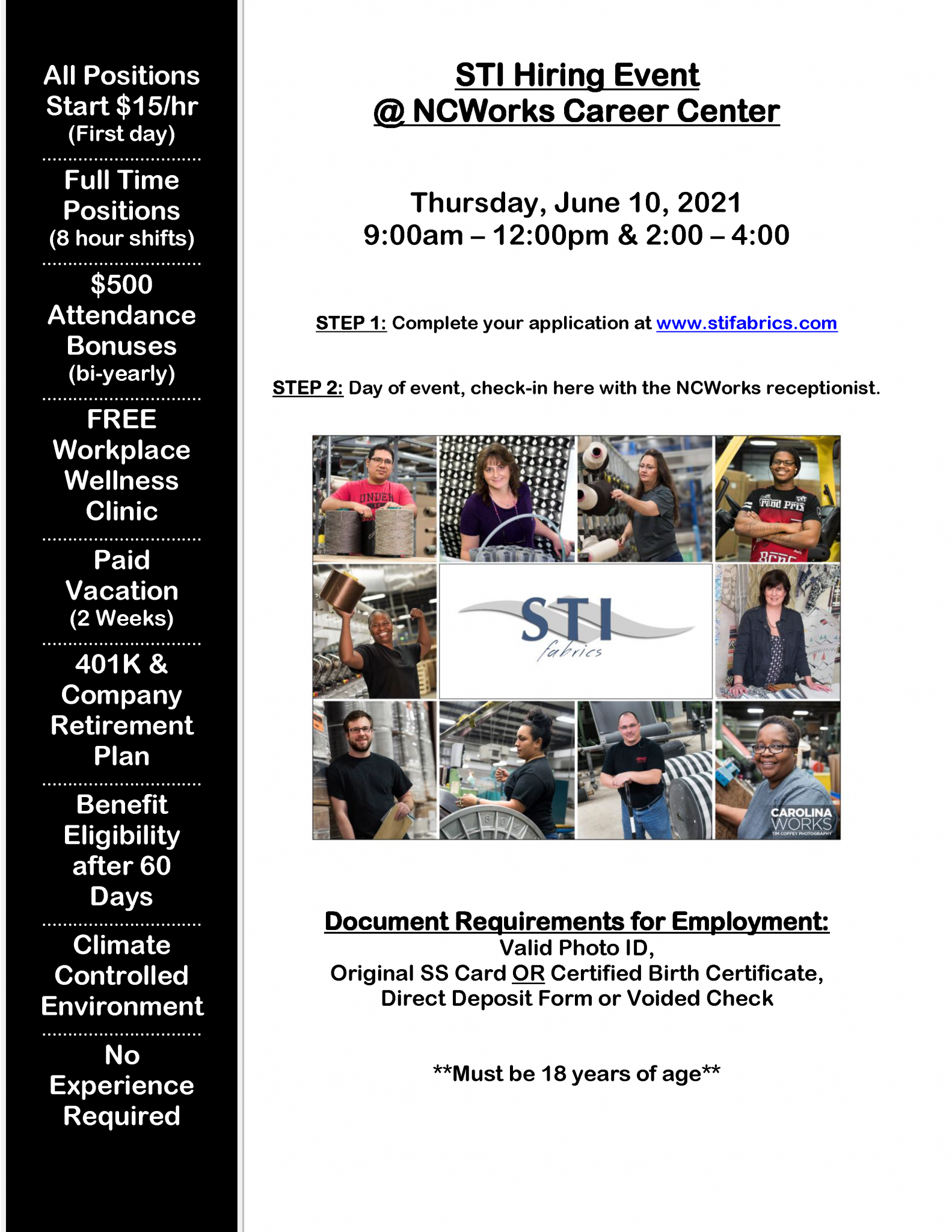 STI Hiring event information.. PDF version is linked to page.