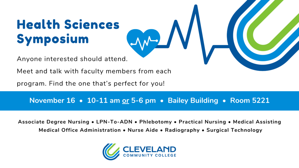 Shows information about a health sciences symposium